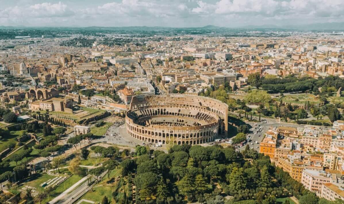 Colosseum aerial view Rome