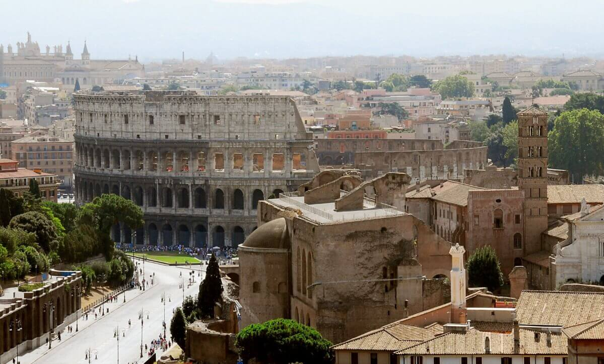 Colosseum aerial and side view